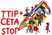 Unterschriftensammlung gegen CETA und TTIP am 11. Oktober 2014